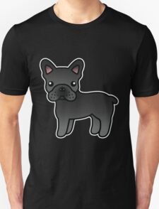 Black French Bulldog Dog Cartoon T-Shirt