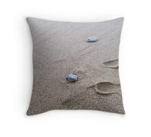 Footprints at Mission Beach Throw Pillow