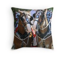 draught horses Throw Pillow