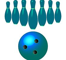 Bowling pins and ball by Laschon Robert Paul