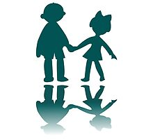 Boy and girl blue silhouettes by Laschon Robert Paul