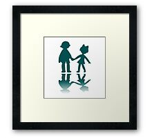 Boy and girl blue silhouettes Framed Print
