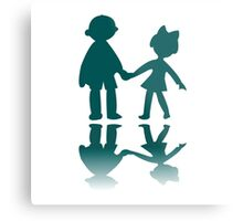 Boy and girl blue silhouettes Metal Print