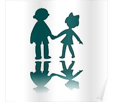 Boy and girl blue silhouettes Poster