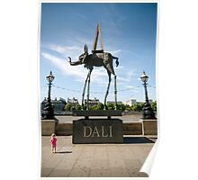 Child and Dali's Elephant Poster