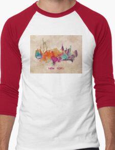 New York City skyline 2 Men's Baseball ¾ T-Shirt