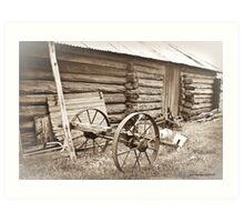 Log Gaol and Wagon Art Print