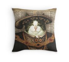 King cat old painting Throw Pillow