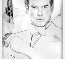 Pierce Brosnan portrait by wu-wei