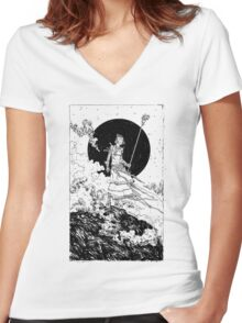 The Moon Black Women's Fitted V-Neck T-Shirt