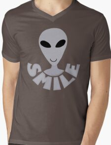 SMILE! Happy Alien LGM In Gray Mens V-Neck T-Shirt