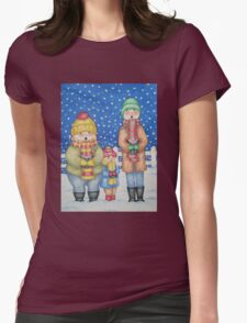 funny carol singers in the snow Christmas art Womens Fitted T-Shirt