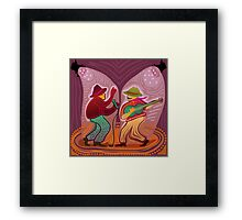 cheerful music band performing on stage Framed Print