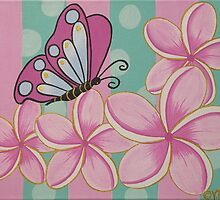 Butterfly and Frangipanis by ARTBYVT