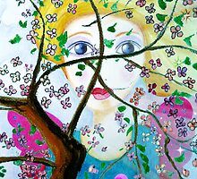 There's an angel behind the blooming tree by JoAnnFineArt