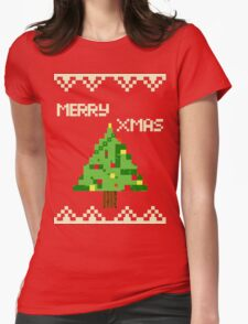 Xmas tree 8bits  Womens Fitted T-Shirt