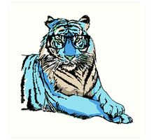 Blue Hipster Tiger Art Print