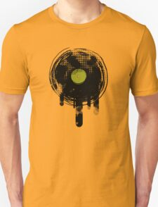 Green Melting Vinyl Records Vintage  T-Shirt