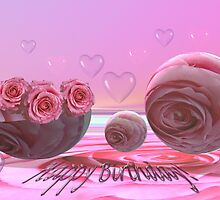 Happy birthday with roses and hearts by walstraasart