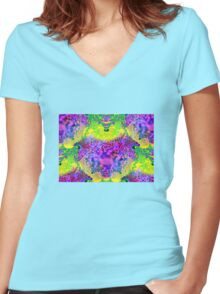 abstract fractal green, purple, blue, red, yellow Women's Fitted V-Neck T-Shirt