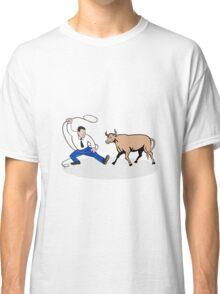 Businessman Holding Lasso Bull Cartoon Classic T-Shirt
