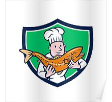 Chef Cook Holding Trout Fish Shield Cartoon Poster