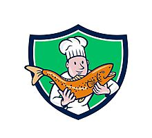 Chef Cook Holding Trout Fish Shield Cartoon Photographic Print