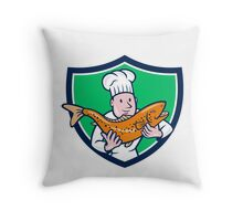 Chef Cook Holding Trout Fish Shield Cartoon Throw Pillow