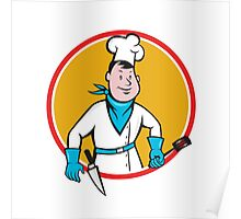 Chef Cook Holding Spatula Knife Circle Cartoon Poster