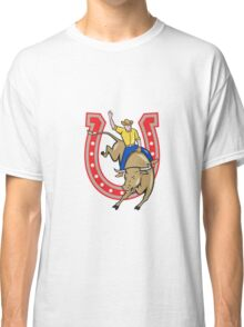 Rodeo Cowboy Bull Riding Horseshoe Cartoon Classic T-Shirt