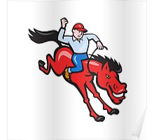 Rodeo Cowboy Riding Horse Isolated Cartoon Poster