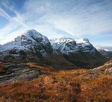 Snow capped Three Sisters in Glencoe. by John Cameron