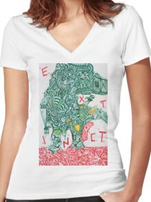 EXTINCT - LARGE FORMAT - VERTICAL Women's Fitted V-Neck T-Shirt
