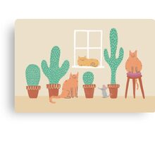 Cats Love Cacti Canvas Print