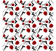 Roses Barbed Wire Guns Pattern Love Is War Photographic Print