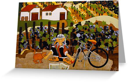 """""""At The Winery"""" Greeting Card by Dawn Peterson"""