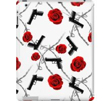 Roses Barbed Wire Guns Pattern Love Is War iPad Case/Skin