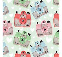 Vintage Camera Pattern - Green Photographic Print