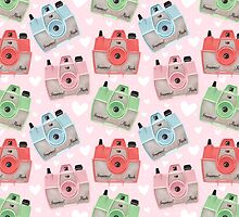Vintage Camera Pattern - Pink by pigandpumpkin