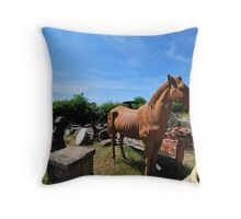 Vintage trash - The horse & missile Throw Pillow
