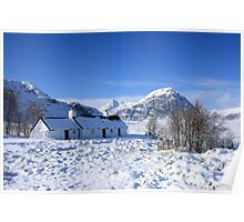 Black Rock Cottage and Buachaille Etive Mor in Glencoe. Poster