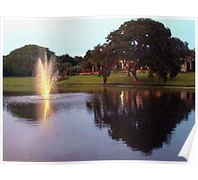 Peaceful lake at dusk Poster