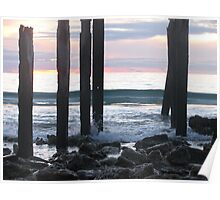 closer jetty ruins.... at sunset in winter  Poster