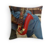 A bit of the blues, in red Throw Pillow