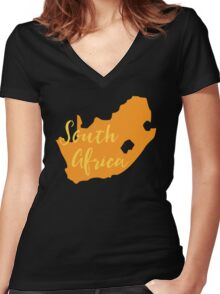 South Africa map in orange fancy Women's Fitted V-Neck T-Shirt
