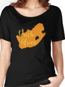South Africa map in orange fancy Women's Relaxed Fit T-Shirt