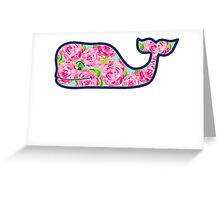 Whale with Roses Greeting Card