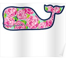 Whale with Roses Poster