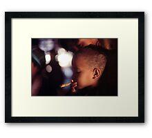 Tribal girl smoking  Framed Print