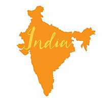 India Country map with fancy type Photographic Print